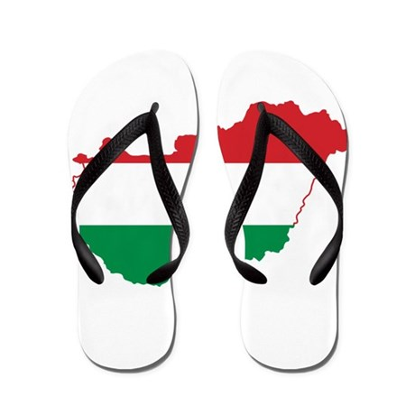 Hungary Flag and Map Flip Flops