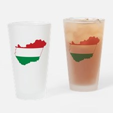 Hungary Flag and Map Drinking Glass