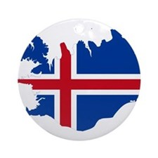 Iceland Flag and Map Ornament (Round)