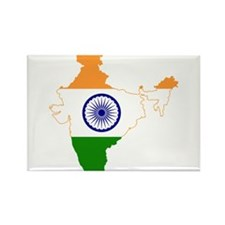 India Flag and Map Rectangle Magnet