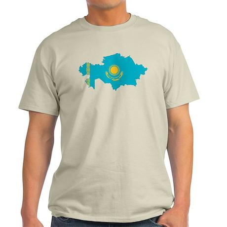 Kazakhstan Flag and Map Light T-Shirt
