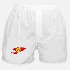 Kyrgyzstan Flag and Map Boxer Shorts