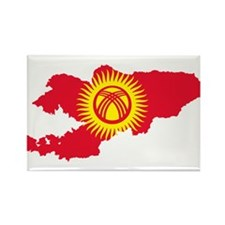 Kyrgyzstan Flag and Map Rectangle Magnet