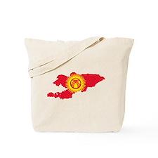 Kyrgyzstan Flag and Map Tote Bag