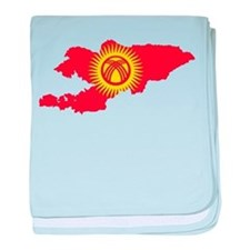 Kyrgyzstan Flag and Map baby blanket