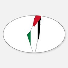 Palestine Flag and Map Sticker (Oval)
