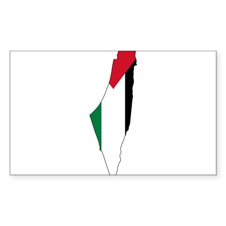 Palestine Flag and Map Sticker (Rectangle)