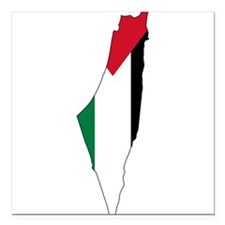 "Palestine Flag and Map Square Car Magnet 3"" x 3"""