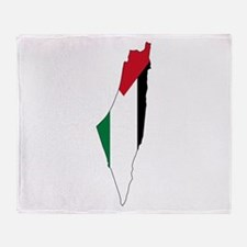 Palestine Flag and Map Throw Blanket
