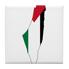 Palestine Flag and Map Tile Coaster