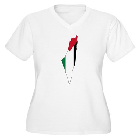 Palestine Flag and Map Women's Plus Size V-Neck T-