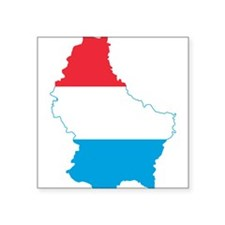 """Luxembourg Flag and Map Square Sticker 3"""" x 3"""""""