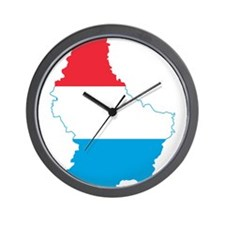 Luxembourg Flag and Map Wall Clock