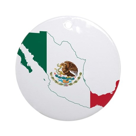 Mexico Flag and Map Ornament (Round)