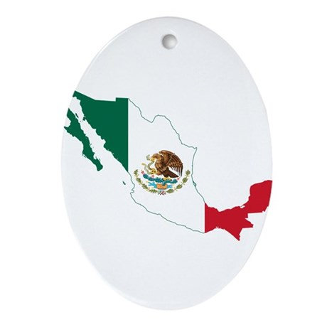 Mexico Flag and Map Ornament (Oval)
