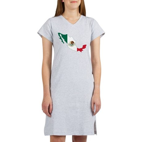 Mexico Flag and Map Women's Nightshirt