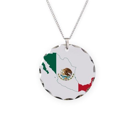 Mexico Flag and Map Necklace Circle Charm