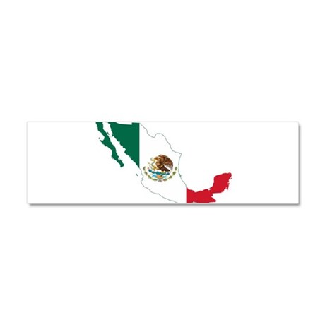 Mexico Flag and Map Car Magnet 10 x 3