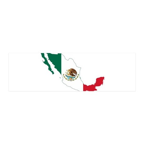 Mexico Flag and Map 20x6 Wall Decal