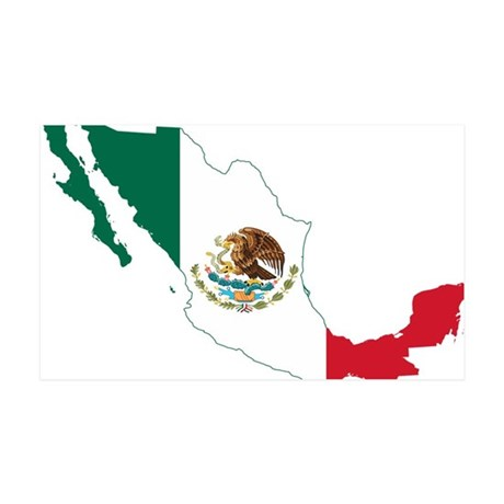 Mexico Flag and Map 35x21 Wall Decal