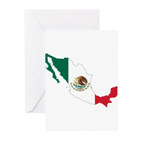 Mexico Flag and Map Greeting Cards (Pk of 10)