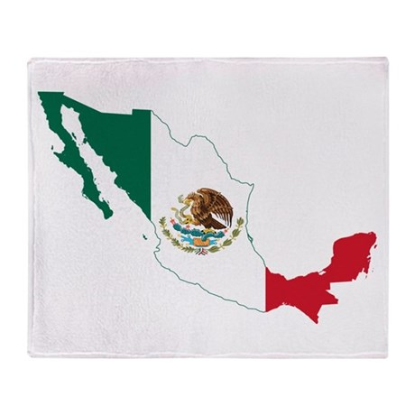 Mexico Flag and Map Throw Blanket