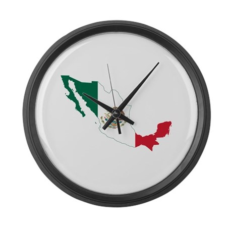 Mexico Flag and Map Large Wall Clock