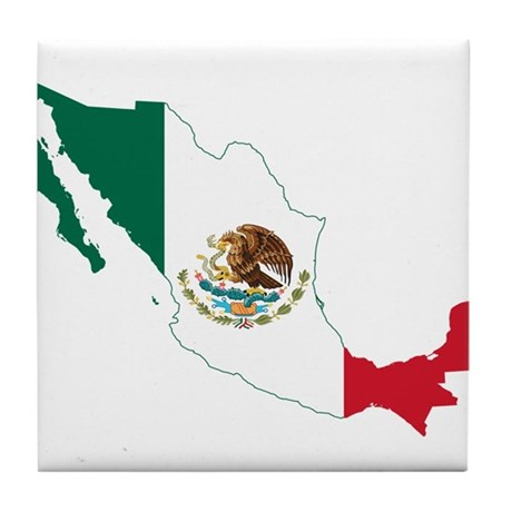 Mexico Flag and Map Tile Coaster