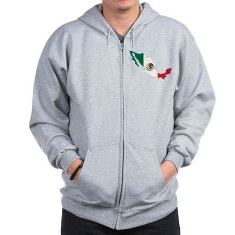 Mexico Flag and Map Zip Hoodie