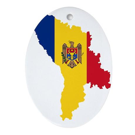 Moldova Flag and Map Ornament (Oval)