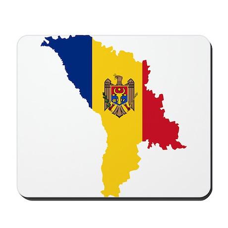 Moldova Flag and Map Mousepad