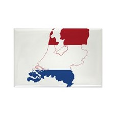 Netherlands Flag and Map Rectangle Magnet