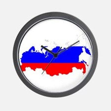 Russia Flag and Map Wall Clock