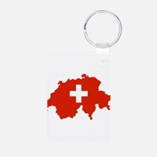 Switzerland Flag and Map Aluminum Photo Keychain