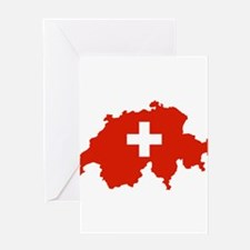 Switzerland Flag and Map Greeting Card