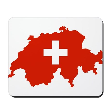 Switzerland Flag and Map Mousepad