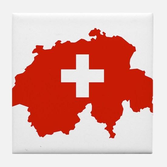 Switzerland Flag and Map Tile Coaster