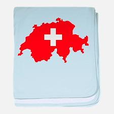 Switzerland Flag and Map baby blanket
