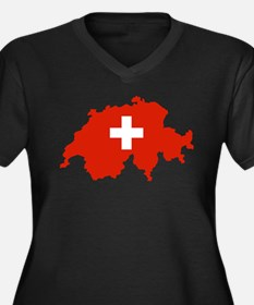 Switzerland Flag and Map Women's Plus Size V-Neck
