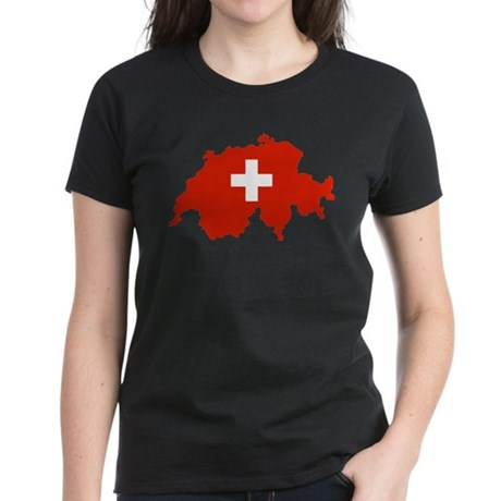 Switzerland Flag and Map Women's Dark T-Shirt