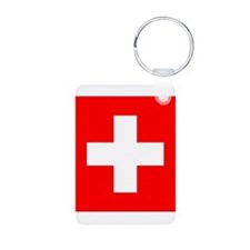 Swiss flag Aluminum Photo Keychain