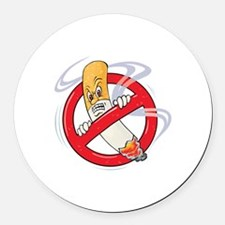 No Smoking Round Car Magnet