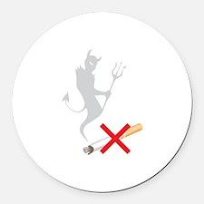 No Smoking Devil Round Car Magnet