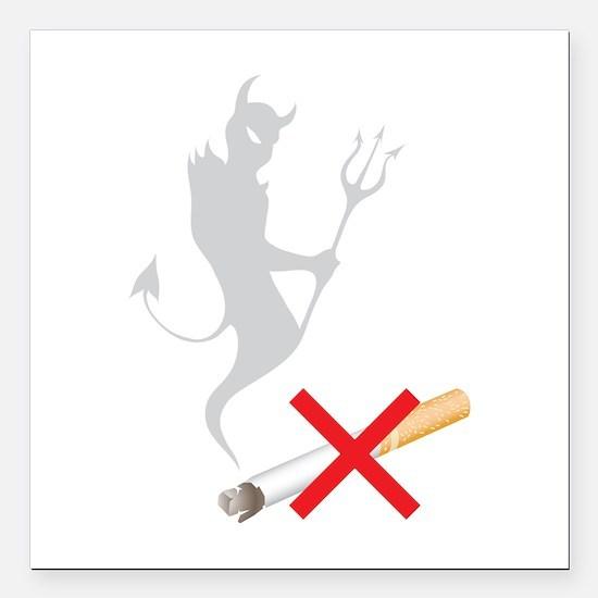 """No Smoking Devil Square Car Magnet 3"""" x 3"""""""