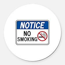 Notice No Smoking Round Car Magnet