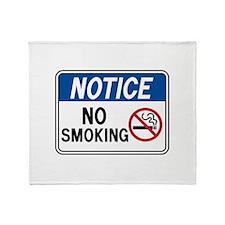 Notice No Smoking Throw Blanket
