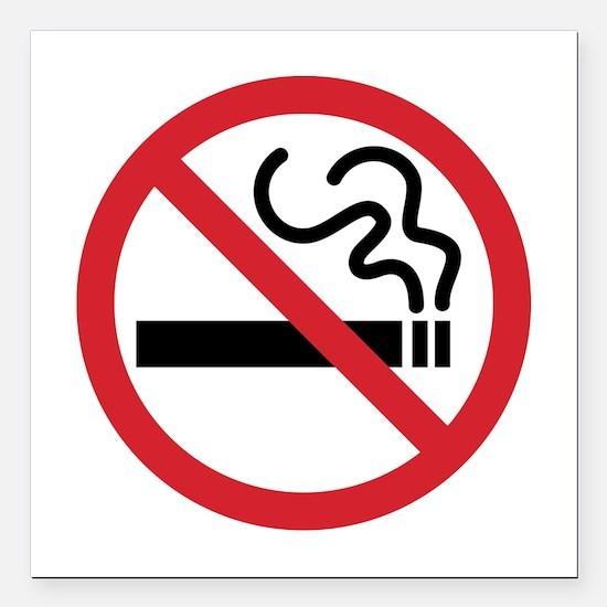 """No Smoking Square Car Magnet 3"""" x 3"""""""