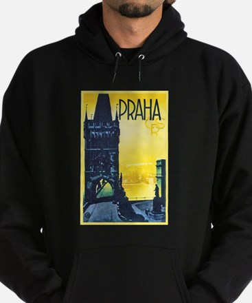 Prague Travel Poster 1 Hoodie (dark)