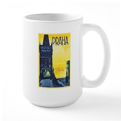 Prague Travel Poster 1 Large Mug