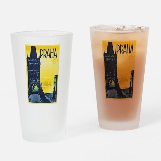 Prague Travel Poster 1 Drinking Glass
